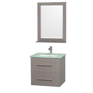 Centra 24 Single Gray Oak Bathroom Vanity Set with Mirror