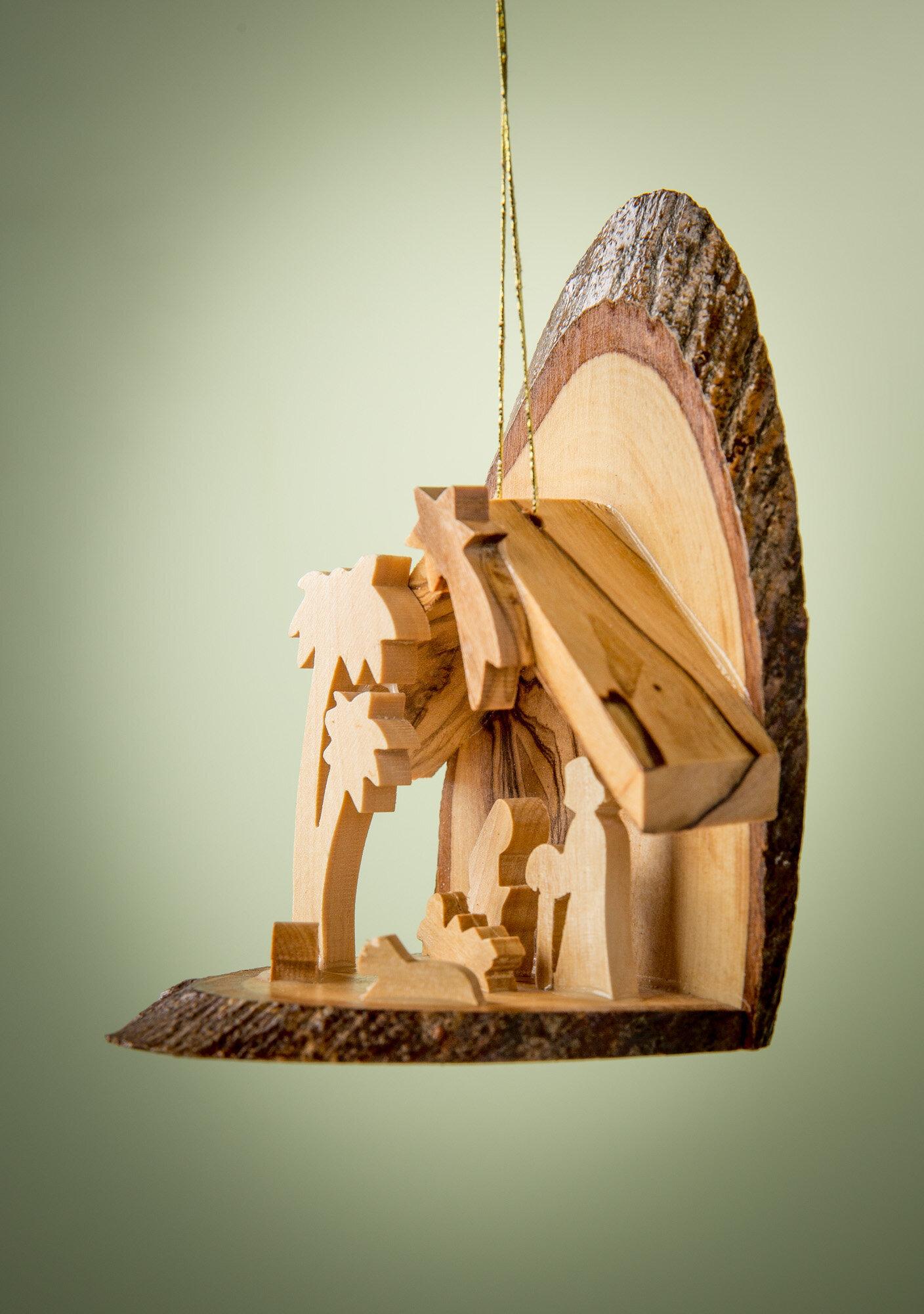 Earthwoodllc Olive Wood Bark Slice Grotto With 2 Palms Ornament Wayfair
