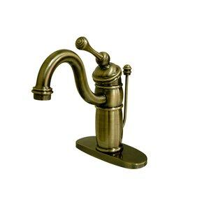 Victorian Single Handle Mono Deck Bathroom Faucet With Brass Pop Up Drain