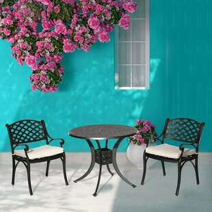 Gains Cast Aluminum 3 Piece Bistro Set wi..