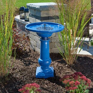 Smart Solar Solar Athena Blue Ceramic Solar Birdbath