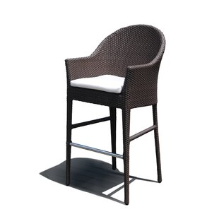 Beachcrest Home Mabel Patio Bar Stool with Cushion