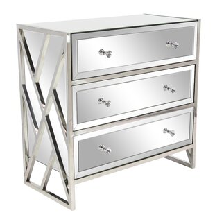 Affordable Price Jazelle Modern Mirrored 3 Drawer Accent Chest By Everly Quinn
