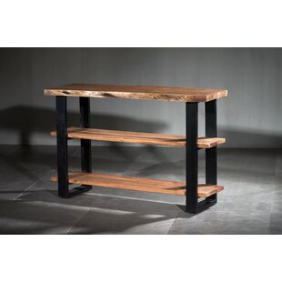 Navya Live Edge Wooden 3 Shelf Console Table by Union Rustic