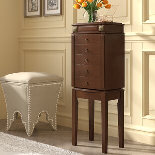Compare prices Russellville Free Standing Jewelry Armoire with Mirror ByThree Posts