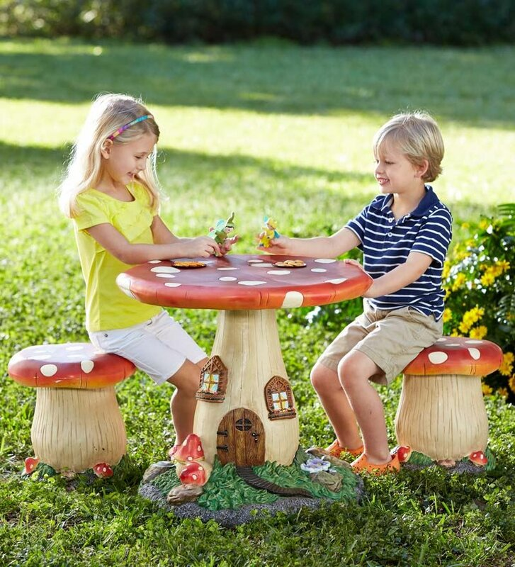 HearthSong Fairy-Tale Mushroom Kids 3 Piece Table and Chair Set ...
