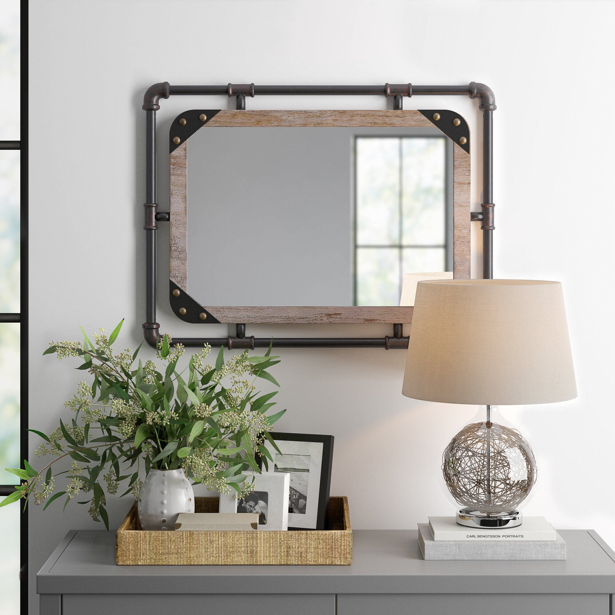 Three Posts Liv Industrial Beveled Distressed Accent Mirror Reviews Wayfair