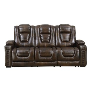 Barnhart Dual Power Leather Reclining Sofa by Red Barrel Studio