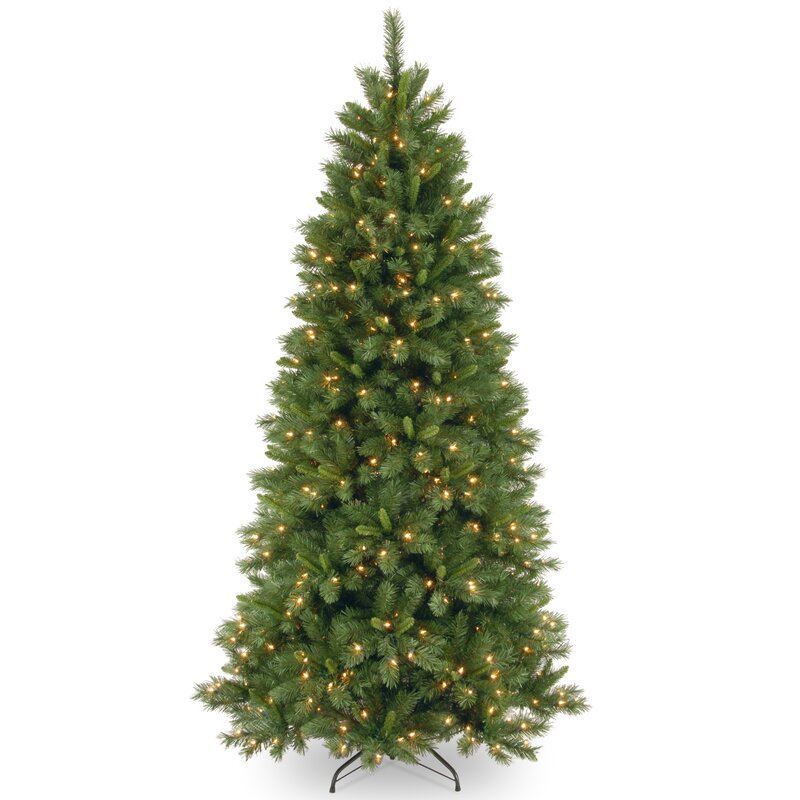 Lehigh Valley Pine 7.5' Green Slim Hinged Artificial Christmas Tree with  450 Colored & Clear - National Tree Co. Lehigh Valley Pine 7.5' Green Slim Hinged