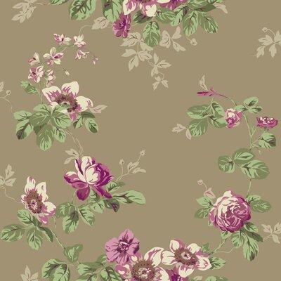 "York Wallcoverings Artisan Estate Victorian 33' x 20.5"" Floral Wallpaper Colour: Soft Gold/Deep Pink/Magenta"