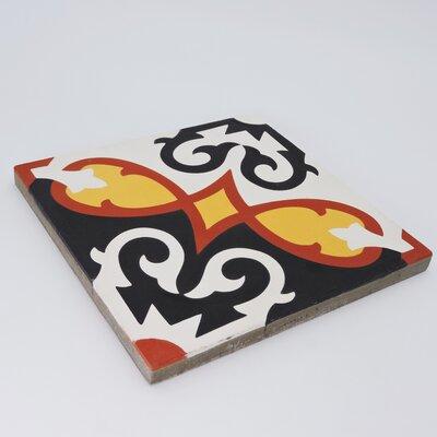"Moroccan Mosaic Agadir 8"" x 8"" Cement Field Tile Color: Black/Orange"