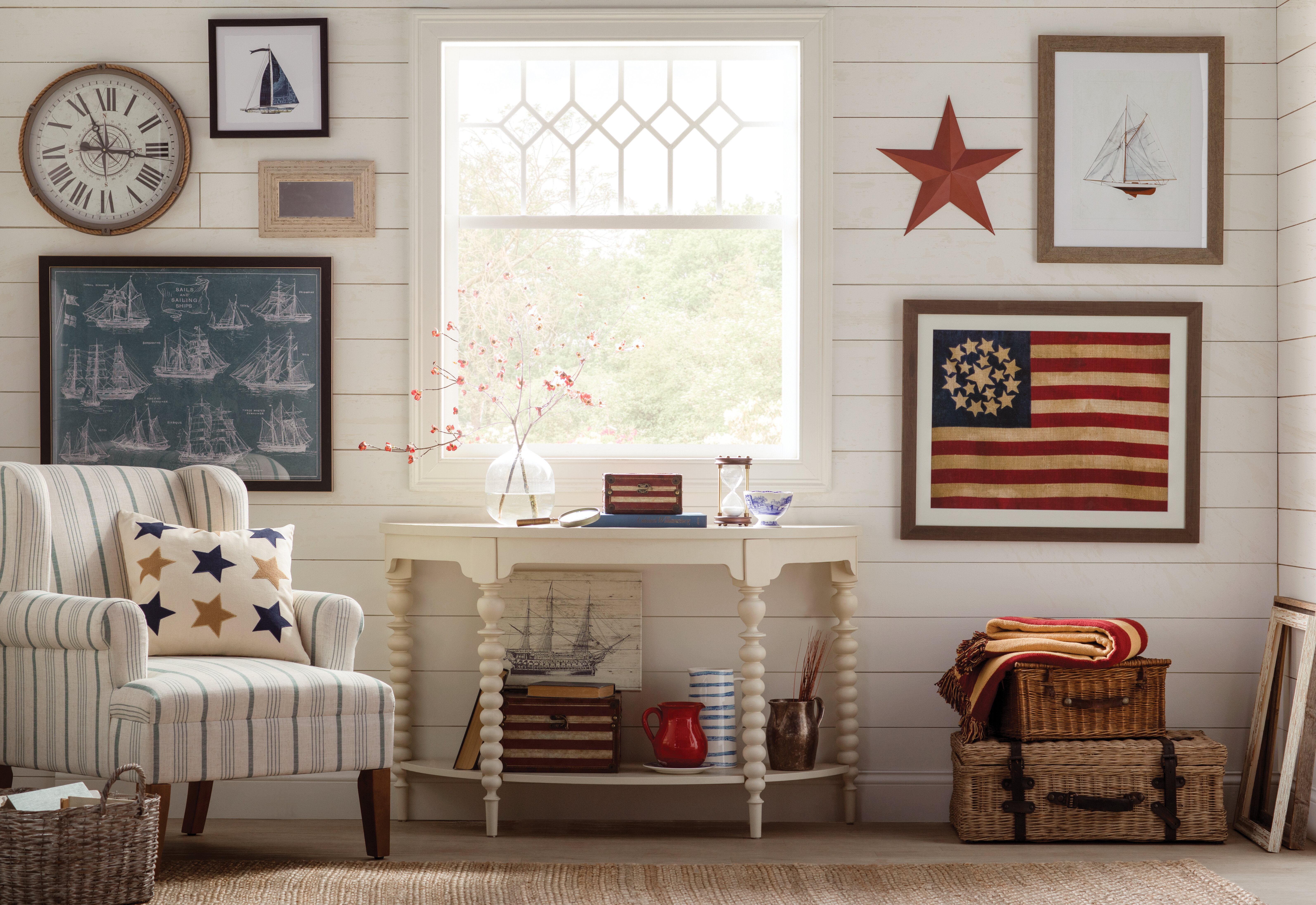 thematic gallery wall with patriotic tones