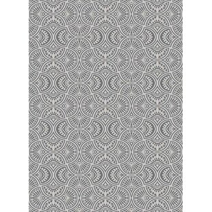 Best Price Hereford Trellis Wavy Lines Charcoal/Gray/Silver Area Rug ByWrought Studio