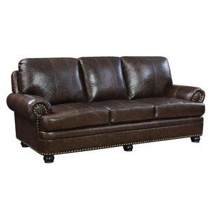 Alamosa Transitional Leather Sofa By Hokku Designs