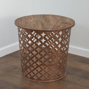 Outdoor/Indoor Drum Rustic Cross Metal Side Table