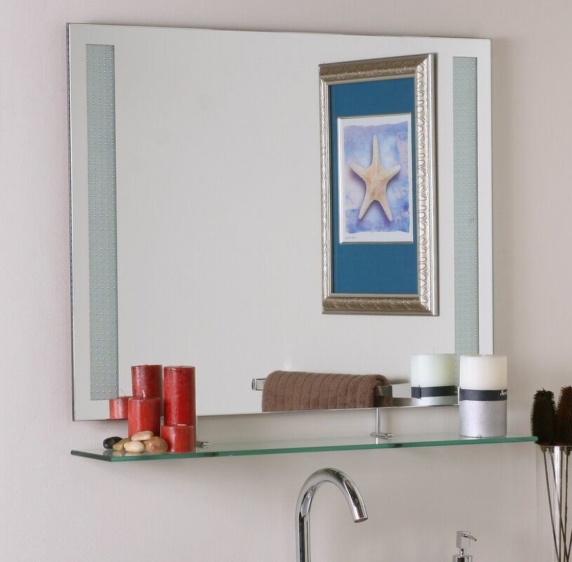 Frameless Wall Mirror brayden studio frameless wall mirror with shelf & reviews | wayfair