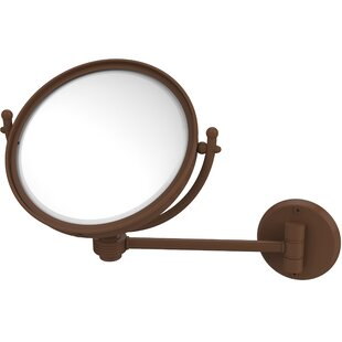 Allied Brass Wall Mounted Make-Up 2X Magnification Mirror with Groovy Detail