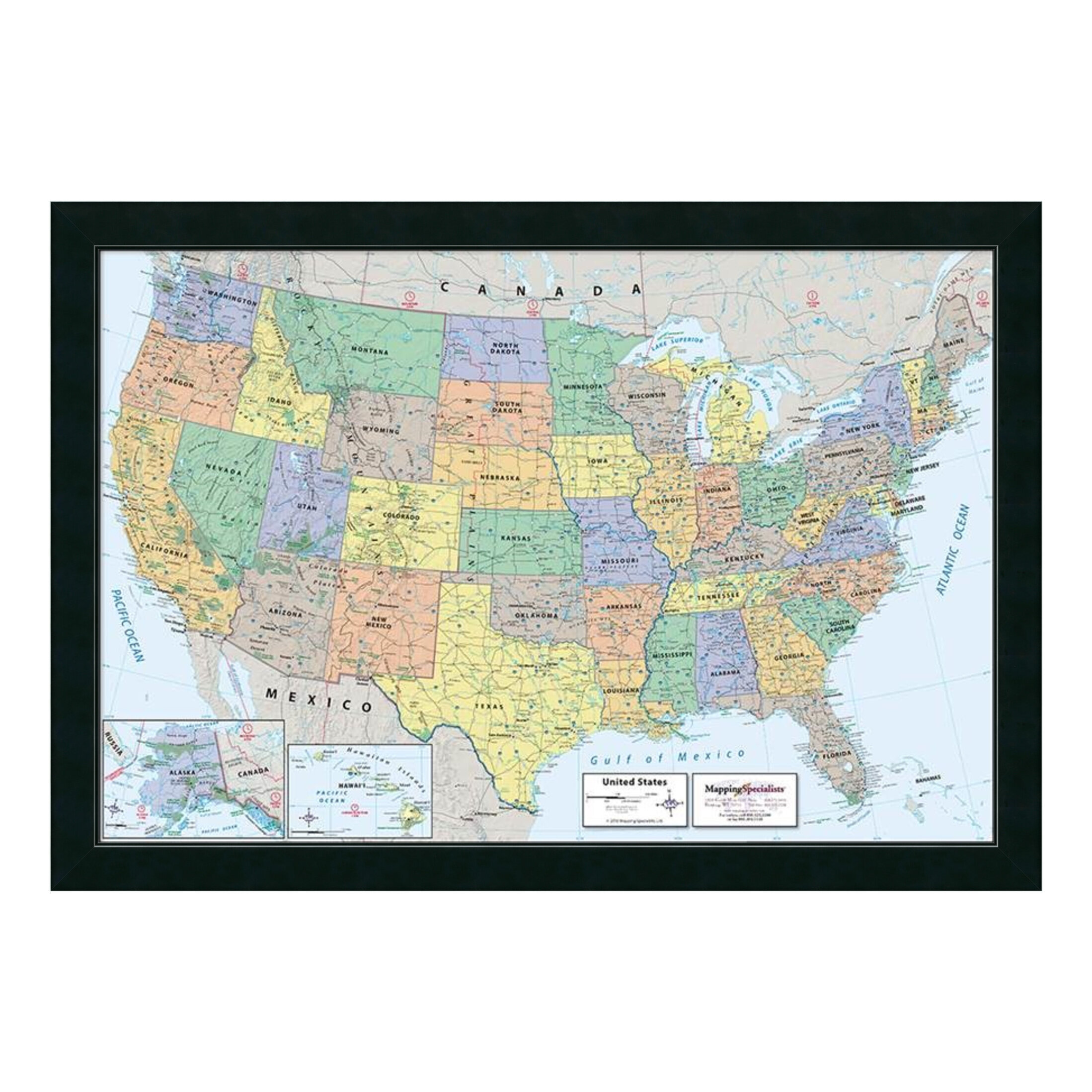 Darby Home Co 2016 United States Map Classic Physical Framed