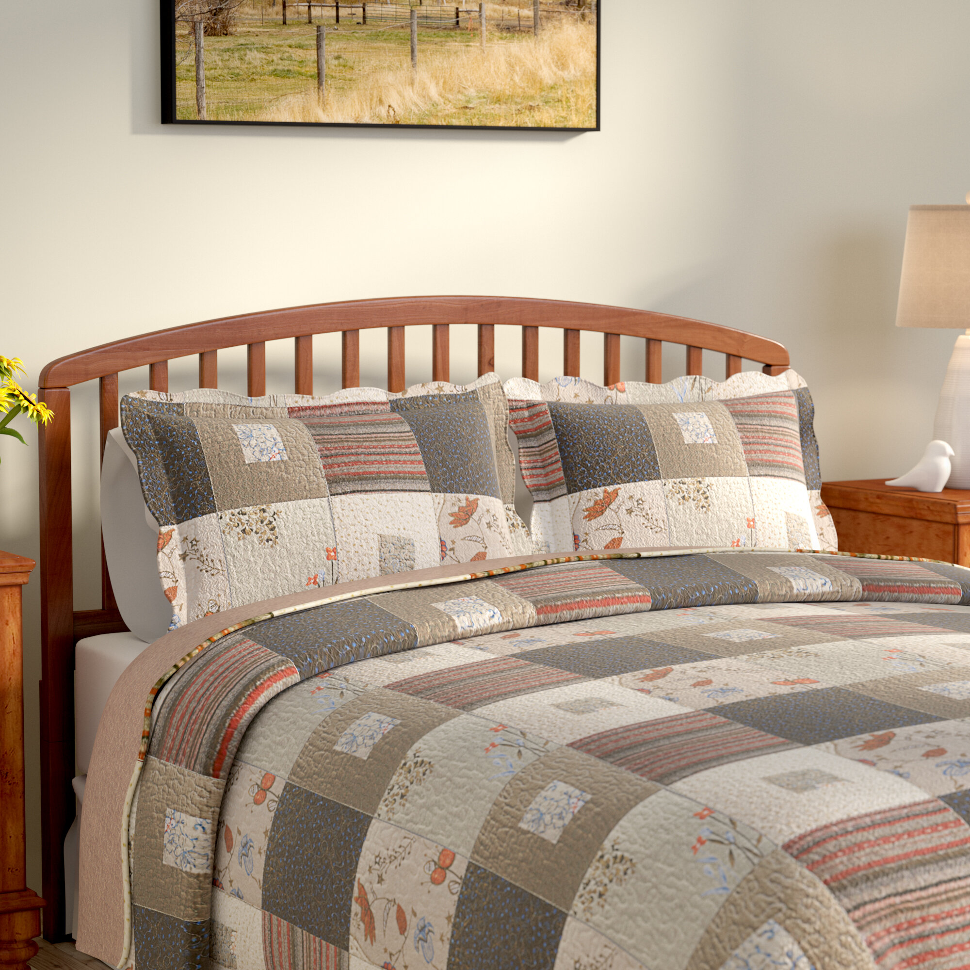august grove helma cotton reversible quilt set | wayfair