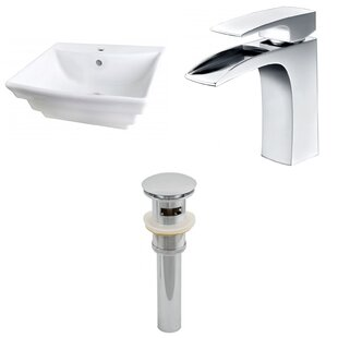 Reviews Ceramic 20 Wall-Mount Bathroom Sink with Faucet and Overflow ByRoyal Purple Bath Kitchen