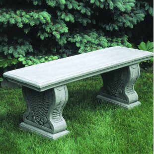 Straight Woodland Ferns Cast Stone Garden Bench by Campania International Looking for