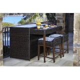 Rio 3 Piece Bar Height Dining Set with Sunbrella Cushions