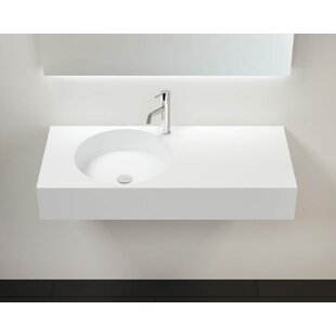 Coupon Polymarble 39 Wall Mount Bathroom Sink with Overflow By Badeloft