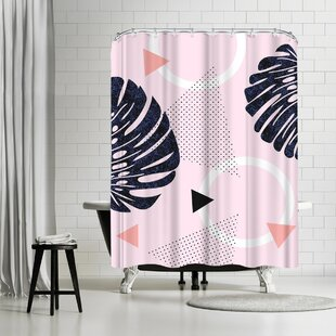 Emanuela Carratoni Shiny Monsteras On Pink Shower Curtain