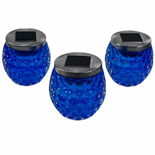 Alcott Hill Ann Glass Jar Solar 1 Light LED Step Light (Set of 3)