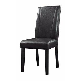 Charlton Home Pomonok High-Back Parson Genuine Leather Upholstered Dining Chair (Set of 2)