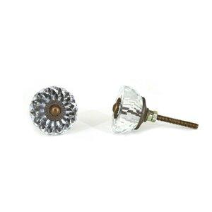 Half Round Radiant Glass Crystal Knob (Set of 2)