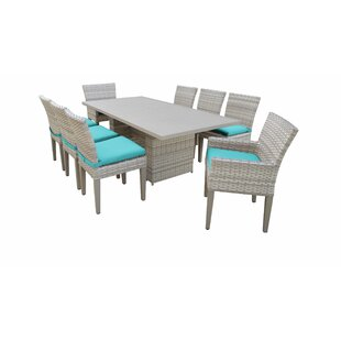 Fairmont 9 Piece Outdoor Patio Dining Set with Cushions