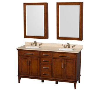 Hatton 60 Double Light Chestnut Bathroom Vanity Set with Medicine Cabinet by Wyndham Collection