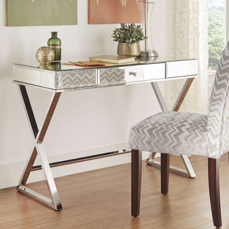 8392cdb0e4abd Willa Arlo Interiors Adina Campaign Glass Writing Desk   Reviews ...
