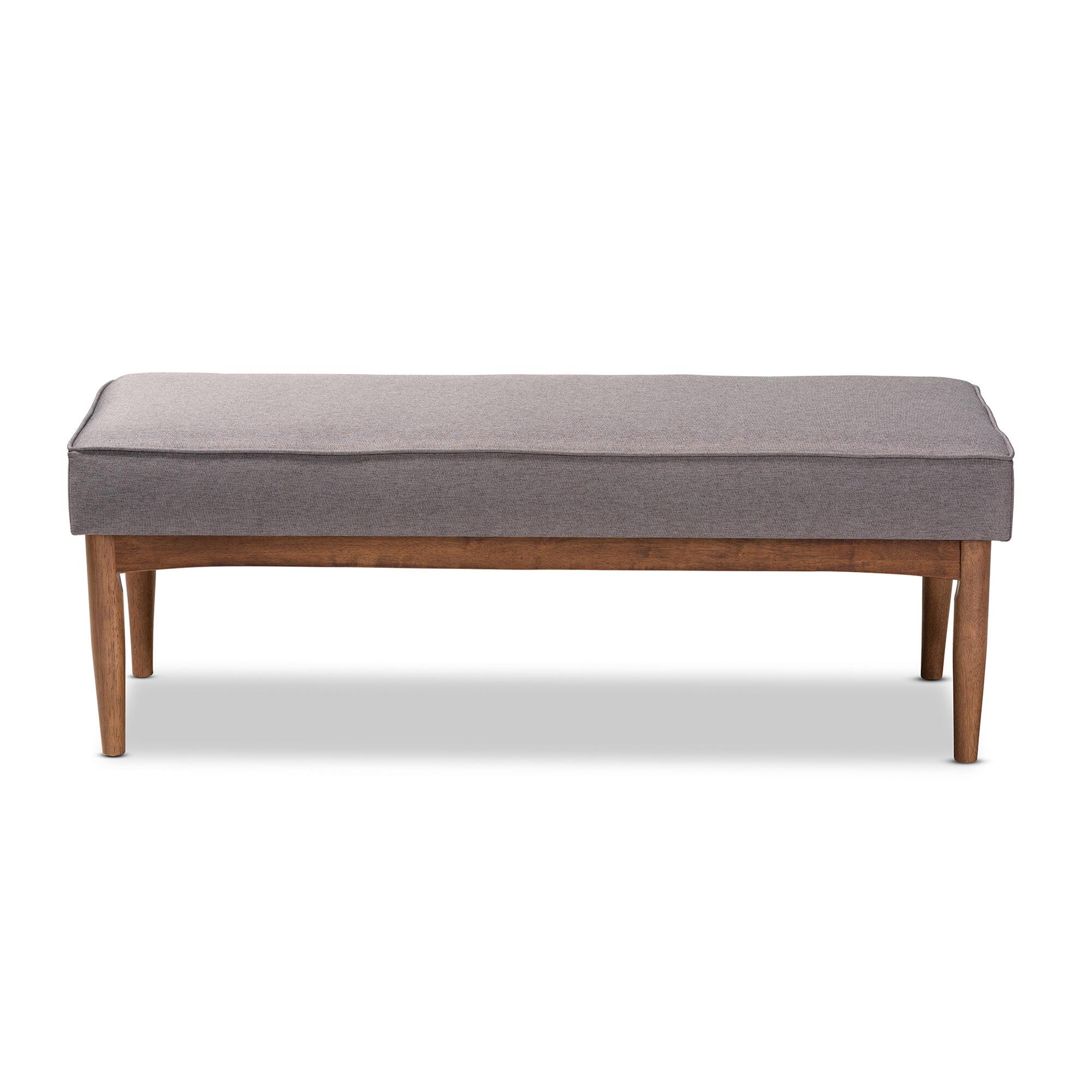 Corrigan Studio Arvid Mid Century Modern Grey Fabric Upholstered Wood Dining  Bench | Wayfair.ca
