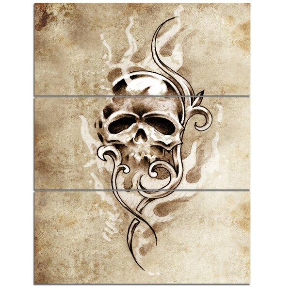 Designart Vintage Style Skull Devil Tattoo 3 Piece Wall Art On Wrapped Canvas Set Wayfair