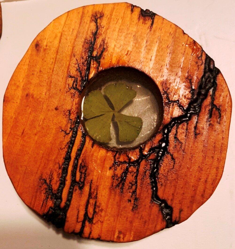 Foundry Select Fractal Burn Four Leaf Clover Coaster Wayfair