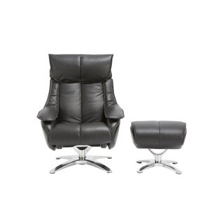 Kagan Leather Manual Swivel Recliner with Ottoman by Orren Ellis