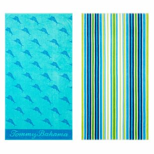 Oceans Marlin Brazilian Stripe 2 Piece 100% Cotton Beach Towel Set