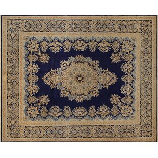 One-of-a-Kind Dorazio Fine Distressed Hand-Knotted 10' x 12'5 Wool Blue/Beige Area Rug ByIsabelline