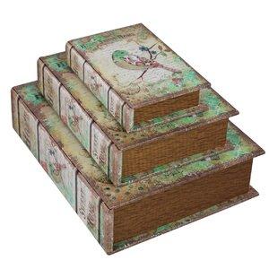 3-tlg. Aufbewahrungsboxen-Set Home Sweet Home Bird aus Leder von Castleton Home