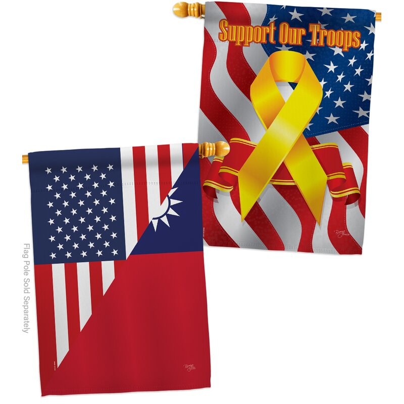 Breeze Decor American Taiwan Friendship Impressions Decorative Support Our Troops 2 Sided 40 X 40 In Polyester House Flag Wayfair