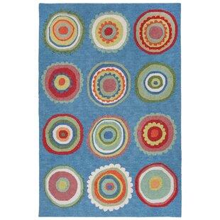 Deontae Circles Hand-Tufted Blue Indoor/Outdoor Area Rug byHarriet Bee