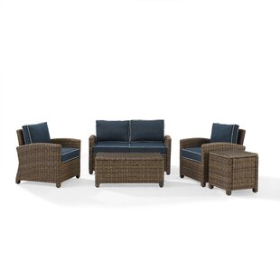 Dardel 5 Piece Rattan Sofa Set with Cushions