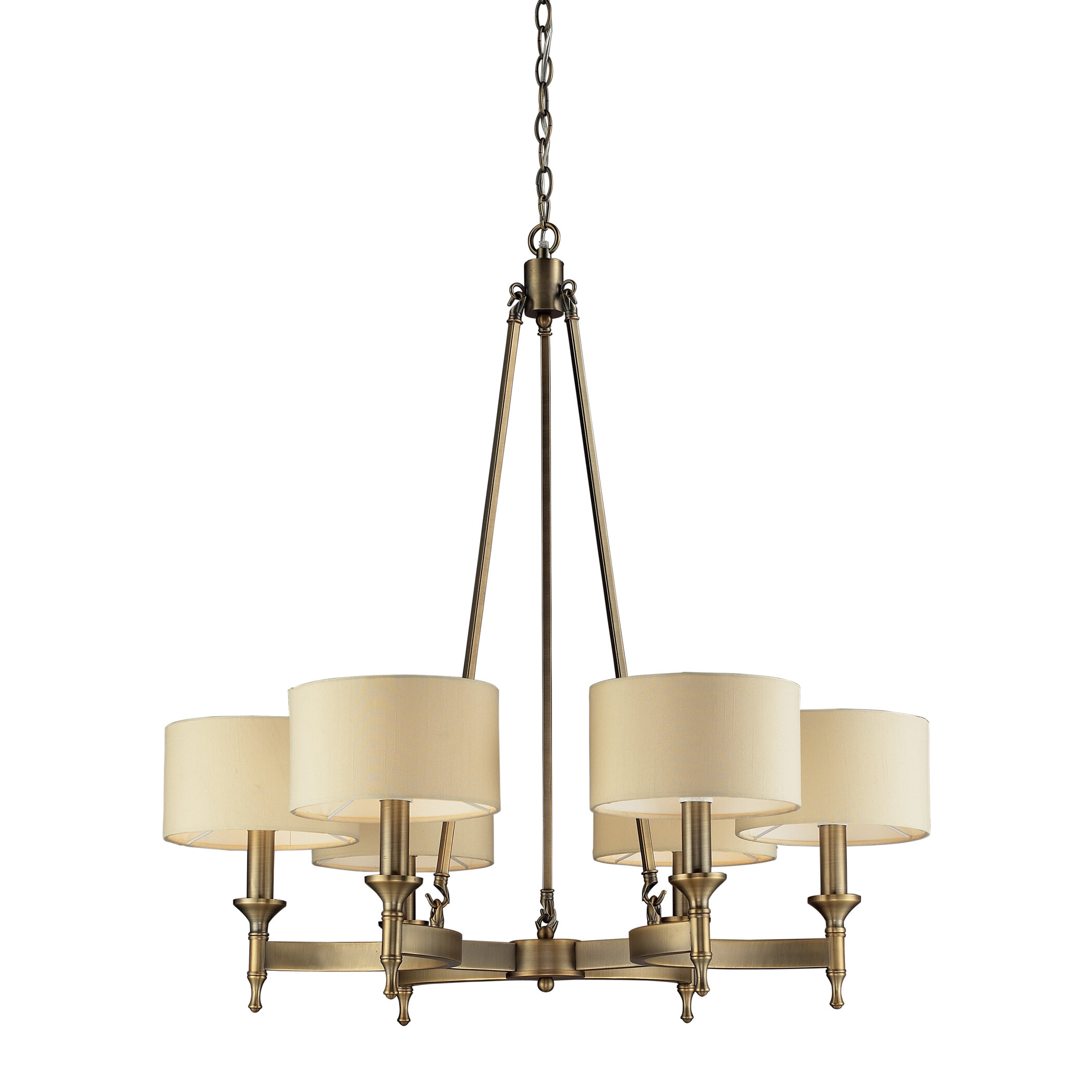 """New clean waxed Brass Ceiling Light Fixture 4/"""" or Antique 3 Chain Shade Holder"""