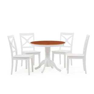 Heier 5 Piece Solid Wood Dining Set August Grove
