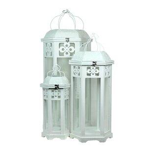 Compare 3 Piece Wood Lantern Set By Bungalow Rose