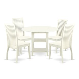 Tyshawn 5 Piece Drop Leaf Breakfast Nook Solid Wood Dining Set by Charlton Home Find