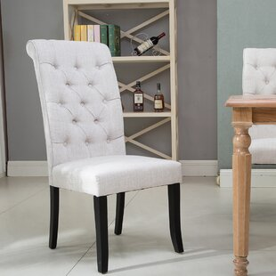 Stengel Tufted Upholstered Parsons Chair in Beige Set of 6