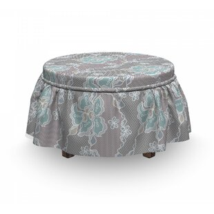Floral Victorian Vintage Soft 2 Piece Box Cushion Ottoman Slipcover Set By East Urban Home